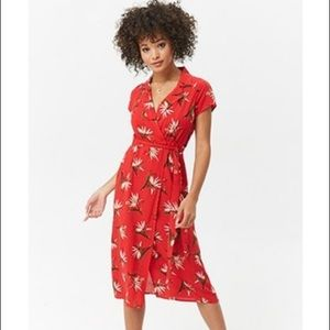 Red Tropical Floral Midi Wrap Dress